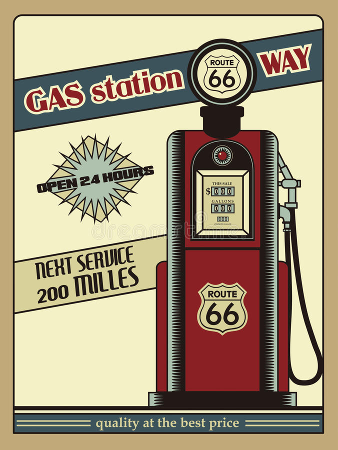 Station service Route 66 illustration stock
