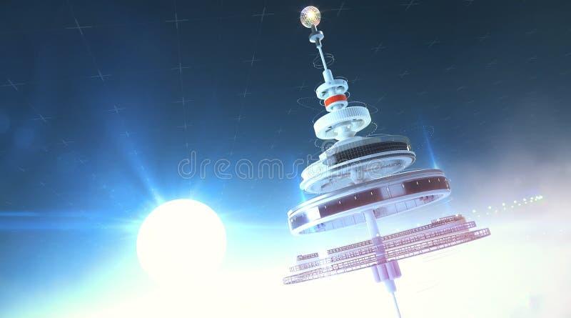 Station spatiale de Futristic flottant dans l'atmosphère contre le Soleil Levant 3d rendent l'illustration de fond illustration de vecteur