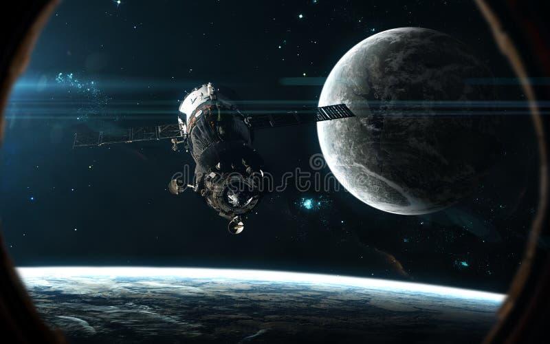 Station spatiale, planètes à la lumière d'étoile bleue Paysage d'espace lointain dans le hublot du vaisseau spatial Art de la sci image stock