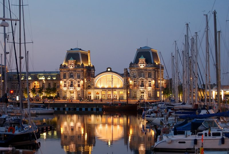 Station surrounded by yachts stock image