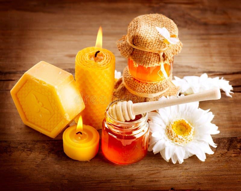 Station thermale de miel images stock