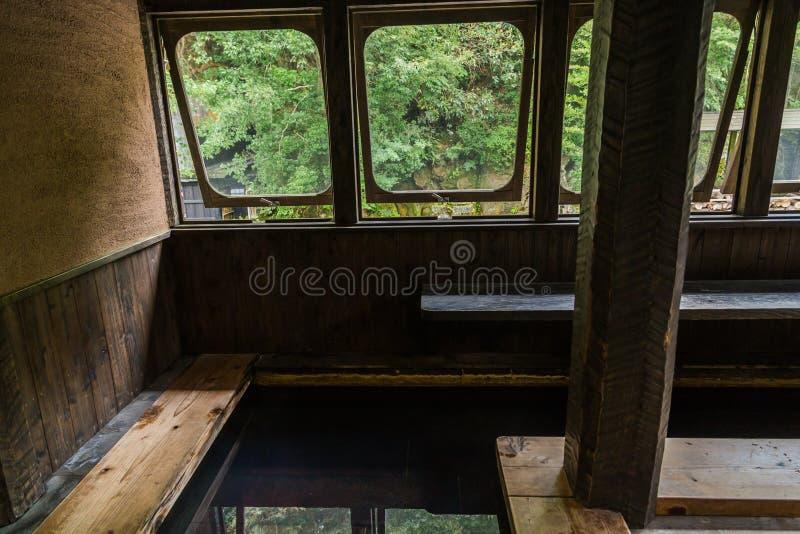 Station thermale de source thermale de pied d'air ouvert dans Kurokawa, Kyushu photos libres de droits