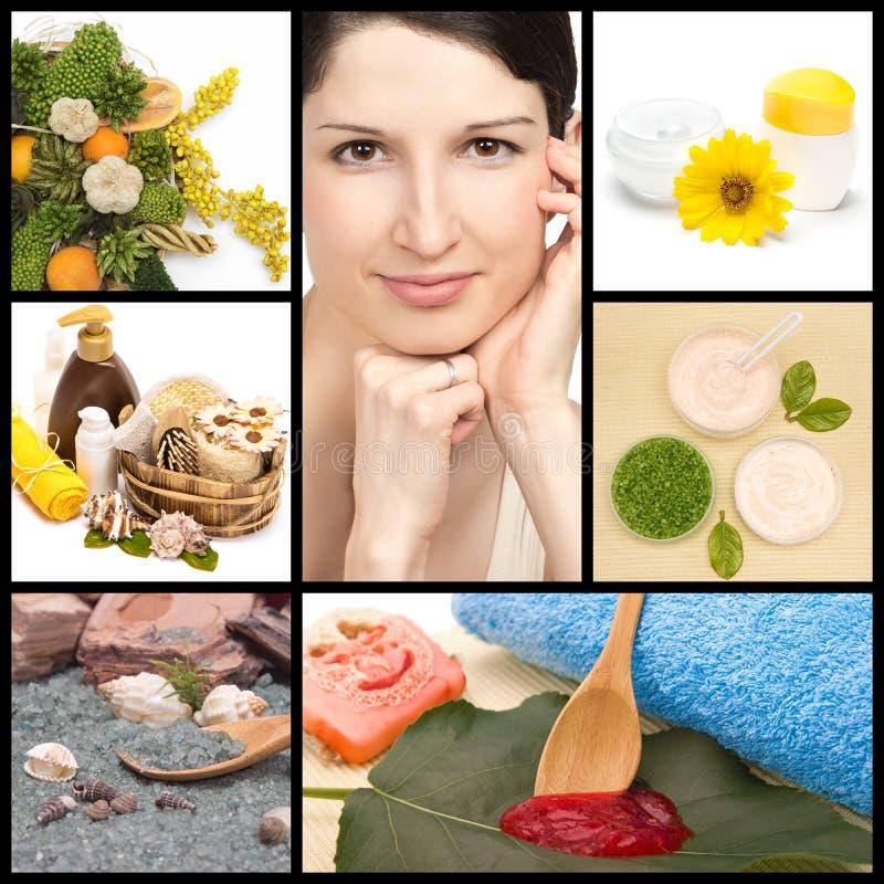 Station thermale et collage naturel de cosmétiques image stock