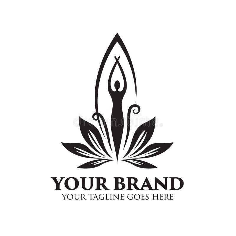 Station thermale et logo de beauté avec des femmes se tenant - vecteur illustration stock