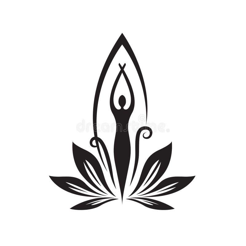 Station thermale et logo de beauté avec des femmes se tenant - vecteur illustration libre de droits