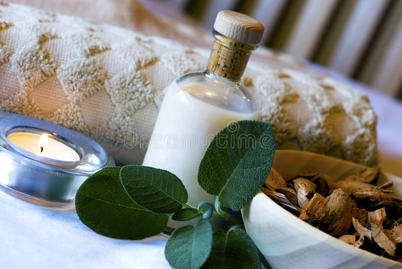 station thermale réglée de sauge aromatherapy photos stock