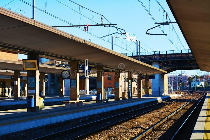 Station in Treviso, spoorweg royalty-vrije stock afbeelding