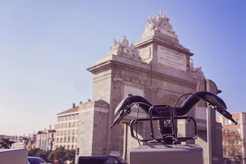 Station of urban bicycles for rent, in the city of Madrid stock photography