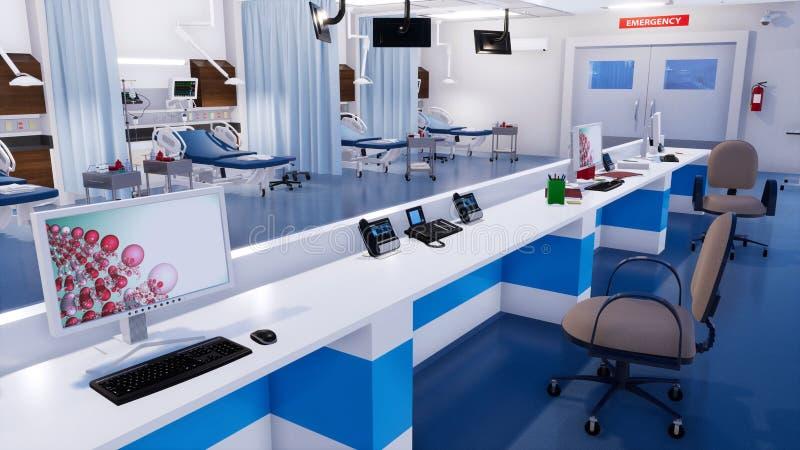 Station vide d'infirmières dans la chambre de secours de la clinique illustration stock