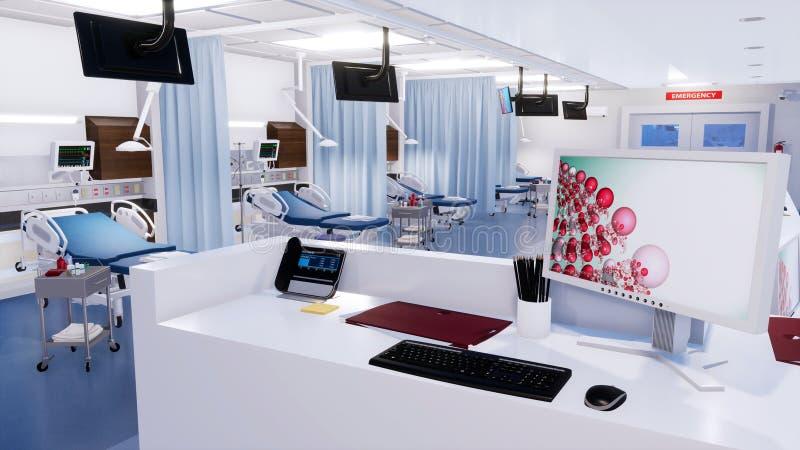 Station vide d'infirmières dans la chambre de secours 3D intérieur illustration de vecteur