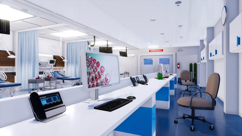 Station vide d'infirmières dans la chambre de secours de l'hôpital illustration libre de droits