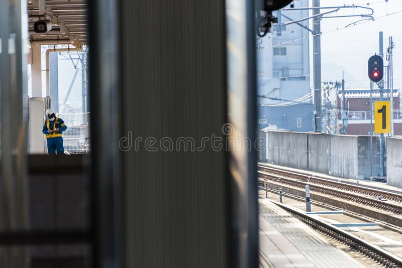 Japanese Train station Takeo-onsen eki. Station workers at Takeo-onsen eki, Saga Prefecture, Takeo, Kyushu, Japan royalty free stock photography