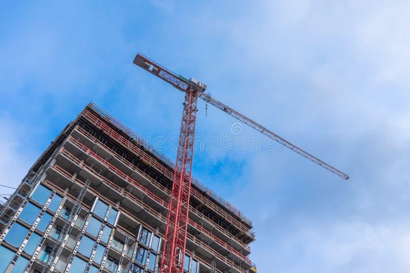 Stationair Hijstoestel Crane Construction Background royalty-vrije stock afbeeldingen