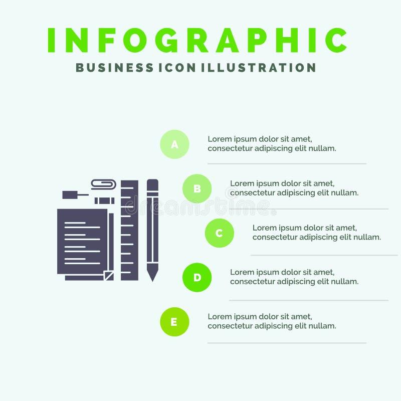 Stationair, Potlood, Pen, Blocnote, Pin Solid Icon Infographics 5 de Achtergrond van de Stappenpresentatie vector illustratie
