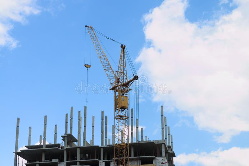 Stationary Hoist On Construction Site Part Of Building Stock Image