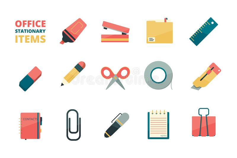 Stationary items. Business office tools paper folder pencil eraser pen paper clip stapler marker vector flat icons vector illustration