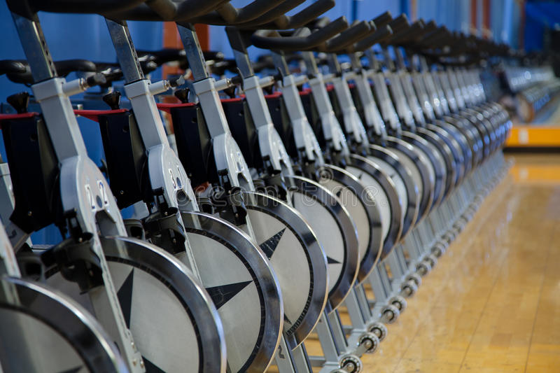Stationary Spin Bicycles Stock Photos