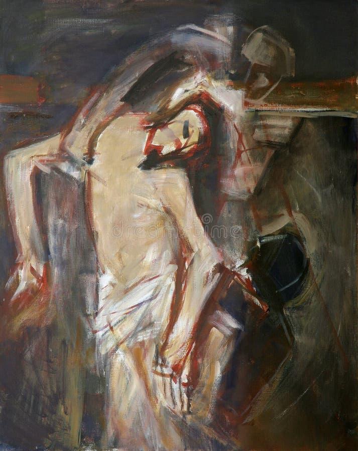 13. Stationen des Kreuzes, Jesus-` Körper wird vom Kreuz entfernt lizenzfreie abbildung