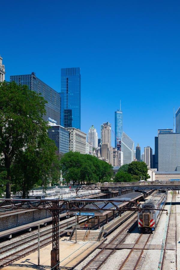 Stationen Van Buren Street, Chicago, USA royaltyfri bild
