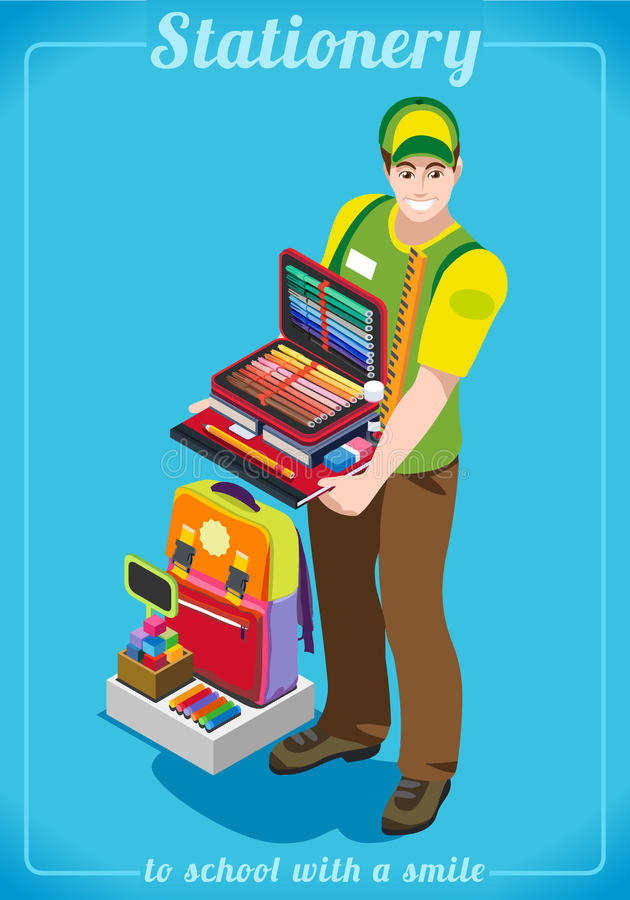 Stationer Poster People Isometric. Stationer Poster with Chancellery. Unique Isometric Realistic Pose. NEW lively palette 3D Flat Vector Illustration. Happy Back vector illustration