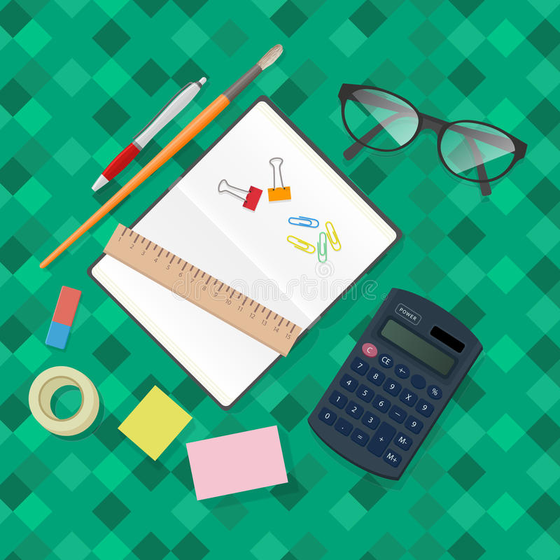 Stationery accessories office vector set. Business and office supplies with notebook, calculator, pen, brush. glass, clip. realistic modern vector illustration stock illustration