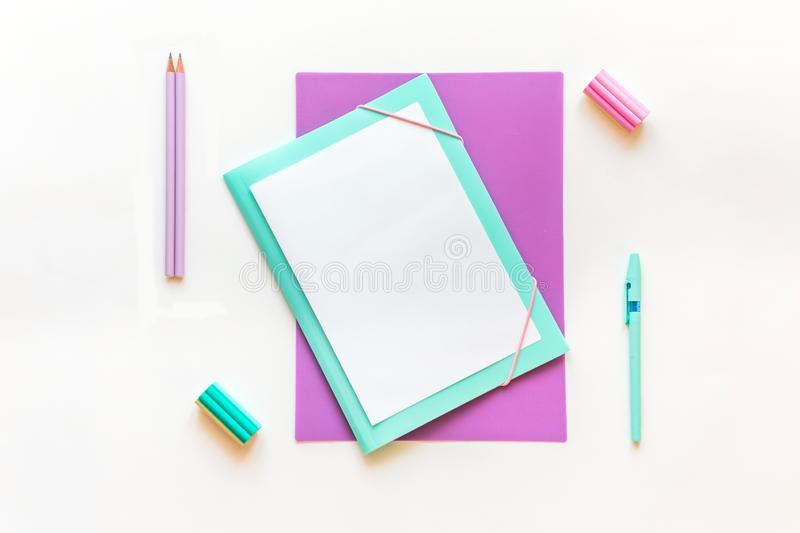 Stationery, back to school. On white background, flatlay, isolated, mock up. Top view. Copy space royalty free stock photos
