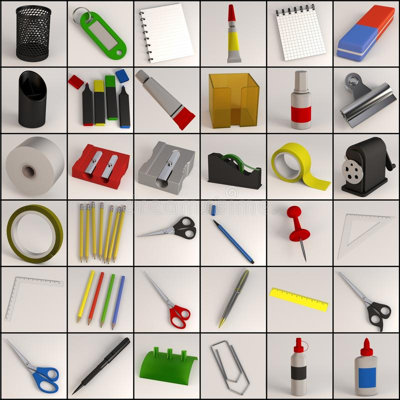 Stationery collection - 36 objects stock illustration