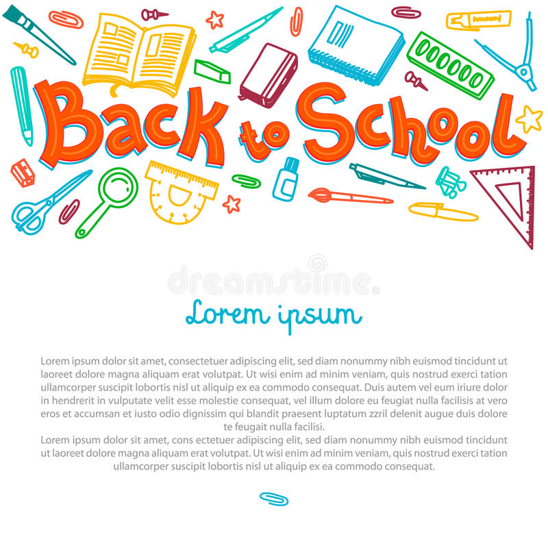 Stationery collection. Outline style. Back to school thin line vector doodle illustration template isolated on white. Background. Sketchy vector concepts with vector illustration