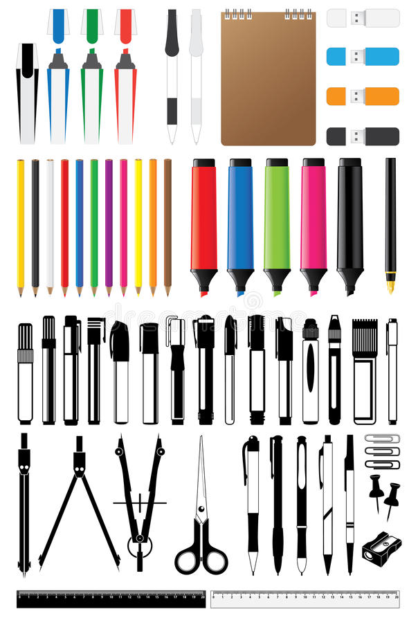 Stationery collection vector. Set different stationery collection vector stock illustration