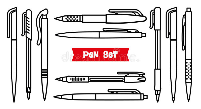 Stationery collection. Writing tools. Pens set. Outline style. Ballpoint thin line vector icons. Biro, Fountain pen, gel stock illustration