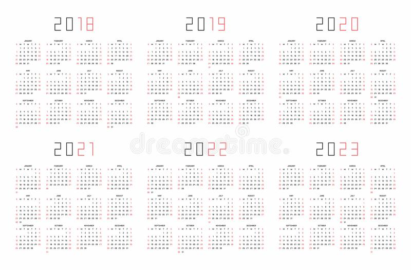 Calendar 2018, 2019, 2020, 2021, 2022, 2023 stock illustration