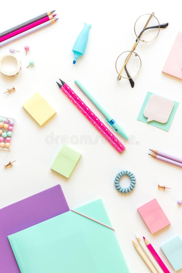 Stationery, girl set in pastel shades. On white background, flatlay, isolated, mock up. Top view. Copy space. Stationery, back to school, girl set in pastel stock photos