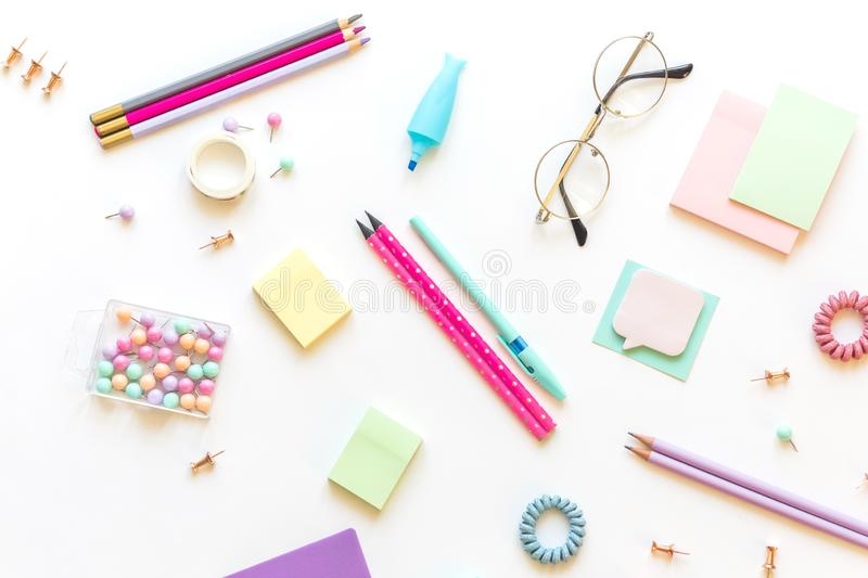 Stationery, girl set in pastel shades. On white background, flatlay, isolated, mock up. Top view. Copy space. Stationery, back to school, girl set in pastel royalty free stock image