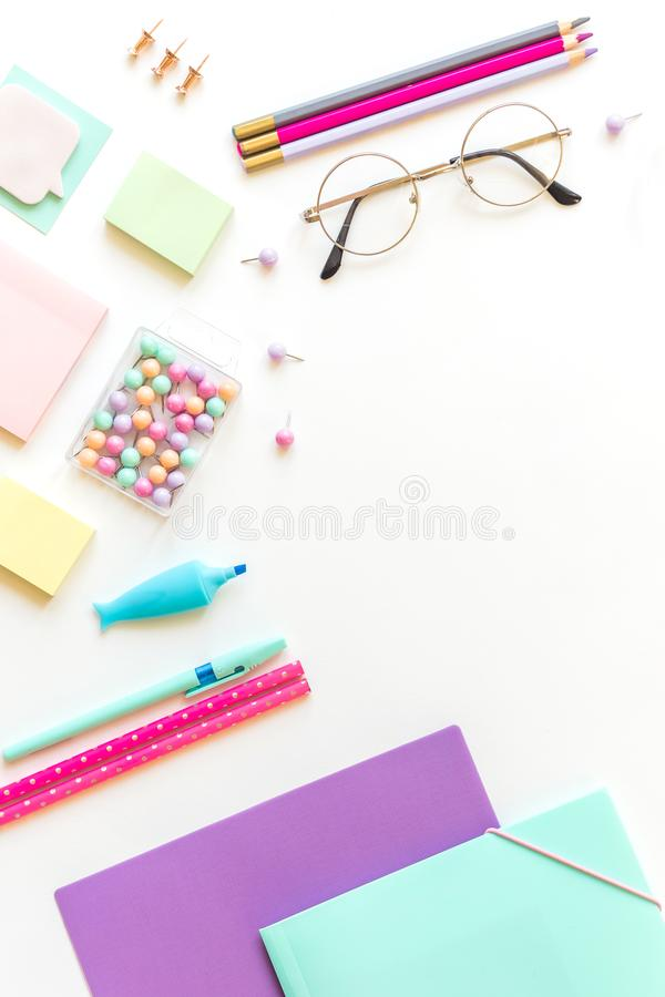 Stationery, girl set in pastel shades. On white background, flatlay, isolated, mock up. Top view. Copy space. Stationery, back to school, girl set in pastel royalty free stock photo