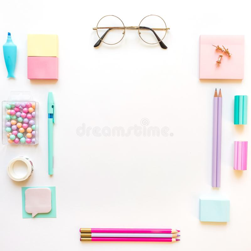 Stationery, girl set in pastel shades. On white background, flatlay, isolated, mock up. Top view. Copy space. Stationery, back to school, girl set in pastel stock image
