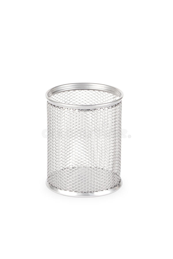 Stationery glass on a white background. Basket for pencils stock photo