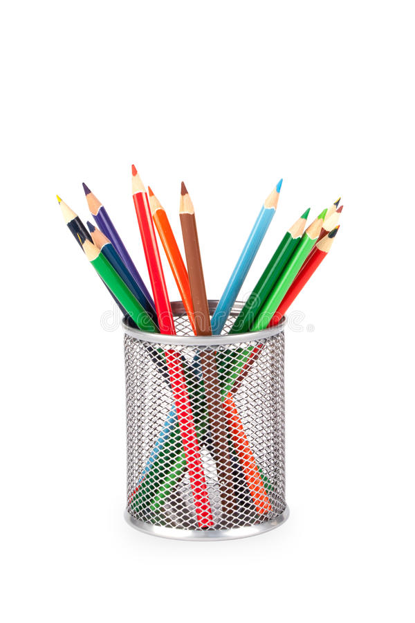 Stationery glass on a white background. Stationery glass with pencils on a white background. Basket for pencils royalty free stock photo