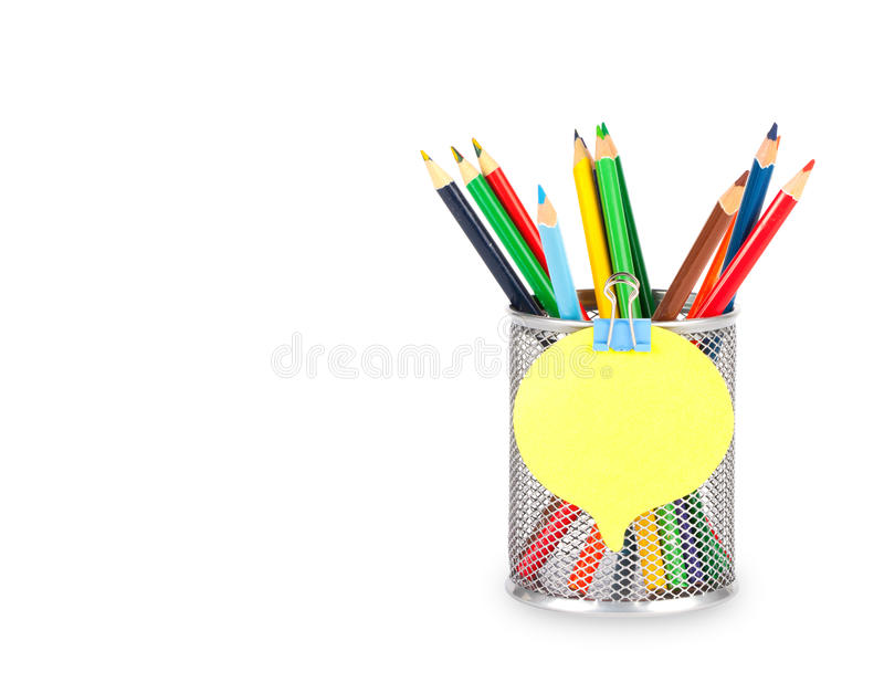 Stationery glass on a white background. Stationery glass with sticker on a white background. Basket for pencils royalty free stock image