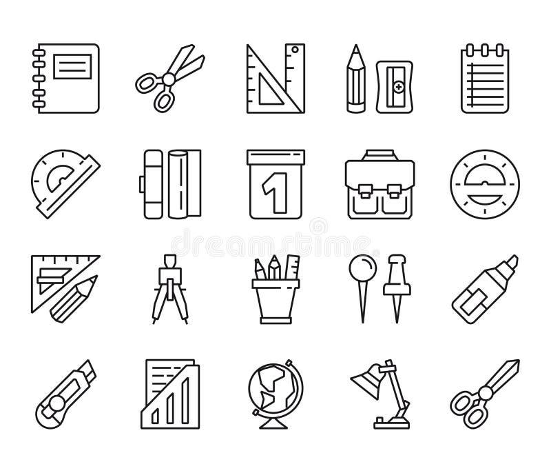 stationery Grupo de ícones lineares ilustração royalty free