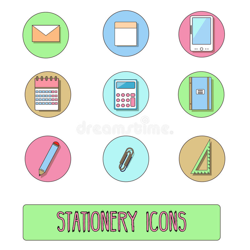 Download Stationery Icons. Vector Symbols Of Office Objects, Hand Drawn Style Stock Vector - Image: 83712871