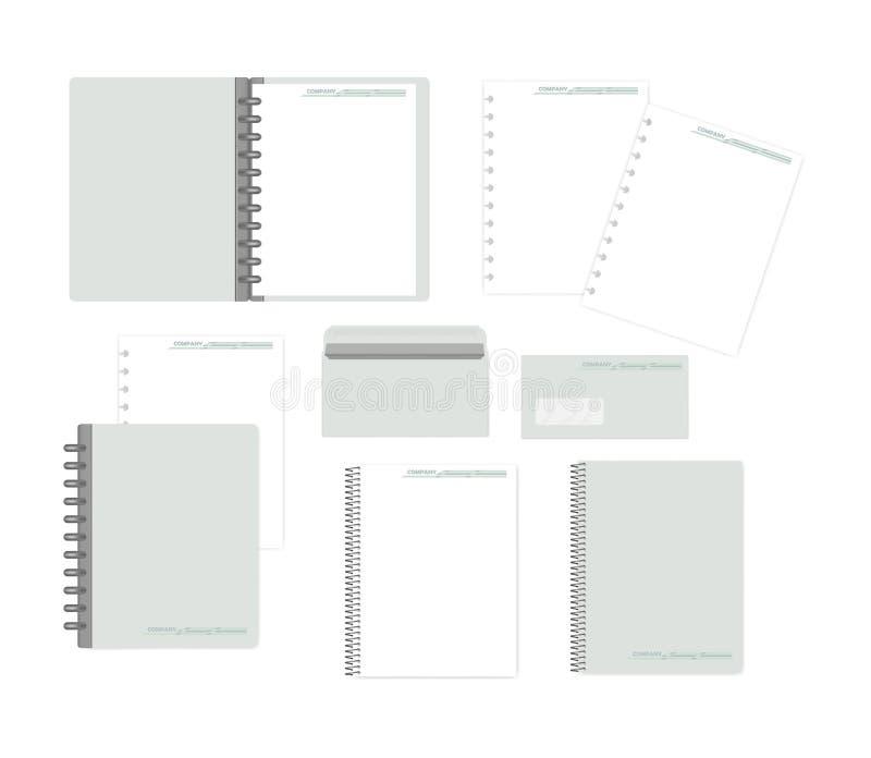 Stationery isolated on white - mockup set for corporate identity design stock illustration
