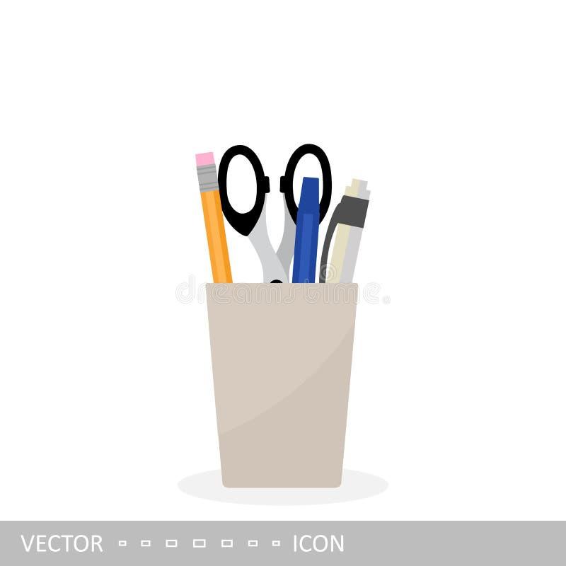 Stationery in the jar: pen, pencil, scissors. Vector illustration. stock illustration