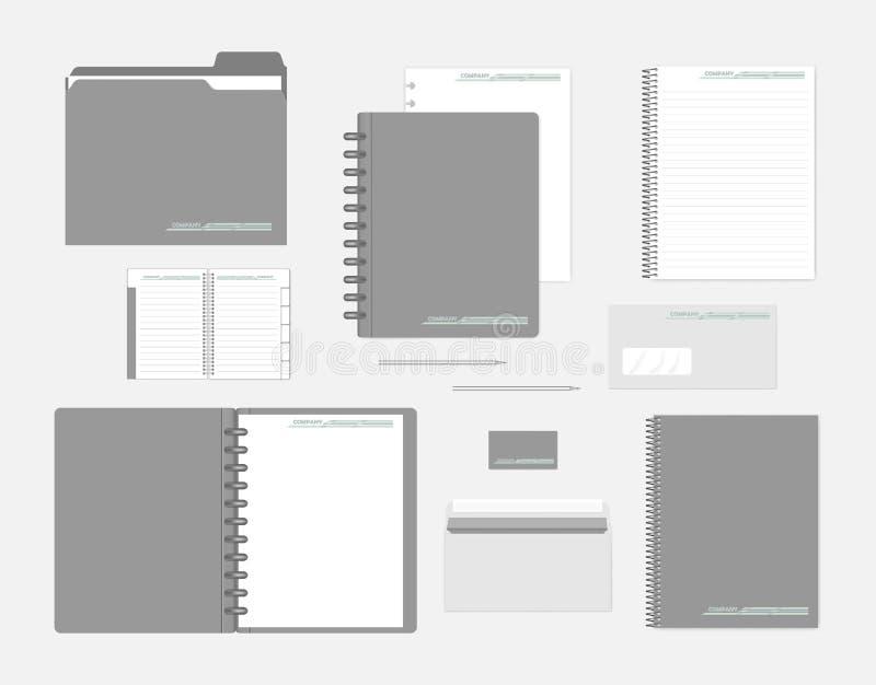Stationery mock-up set for corporate identity design stock illustration