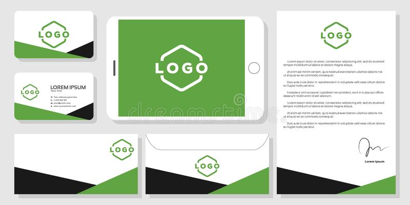 Stationery mockup design branding template. Stationery business card mockup design branding template vector stock illustration