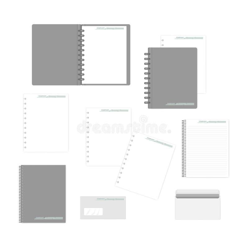 Stationery mockup set for corporate identity design vector illustration