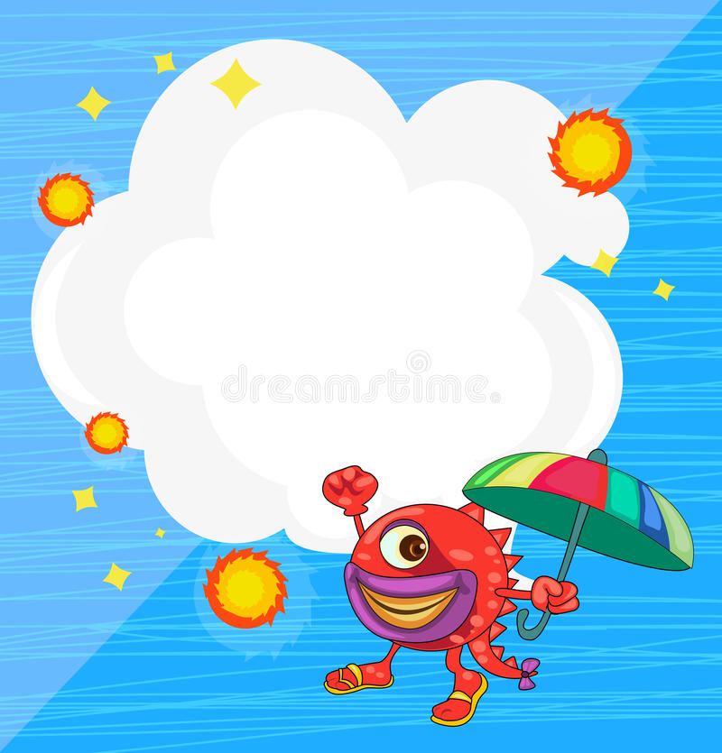 Download A Stationery With A Monster Holding An Umbrella Stock Vector - Image: 32521582