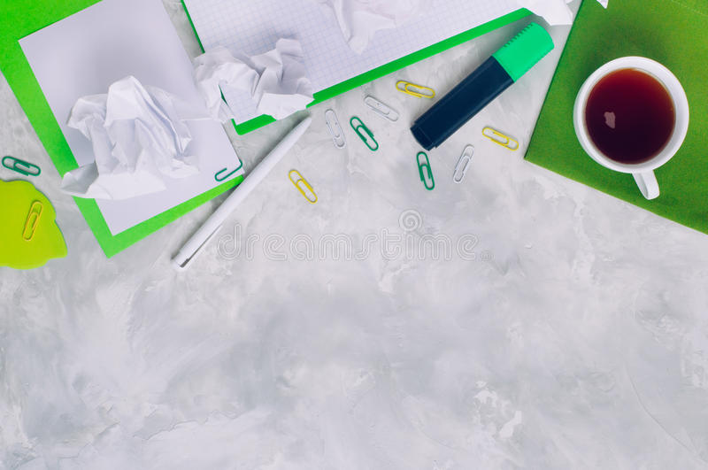 Download Stationery Over Concrete Background With Copy Space Stock Image - Image: 83713447