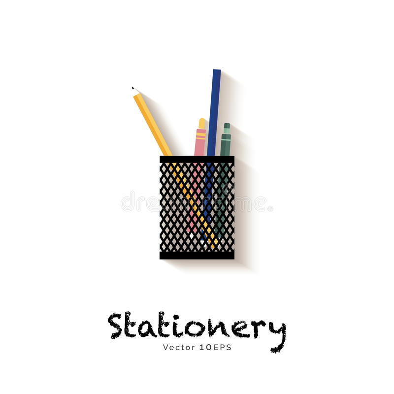 Stationery in pen holder. Vector icon vector illustration