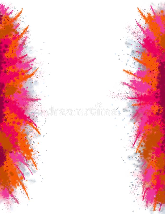 Paint Splash Template. Large Abstract Watercolor Stains Left/Right. Holi Celebration vector illustration