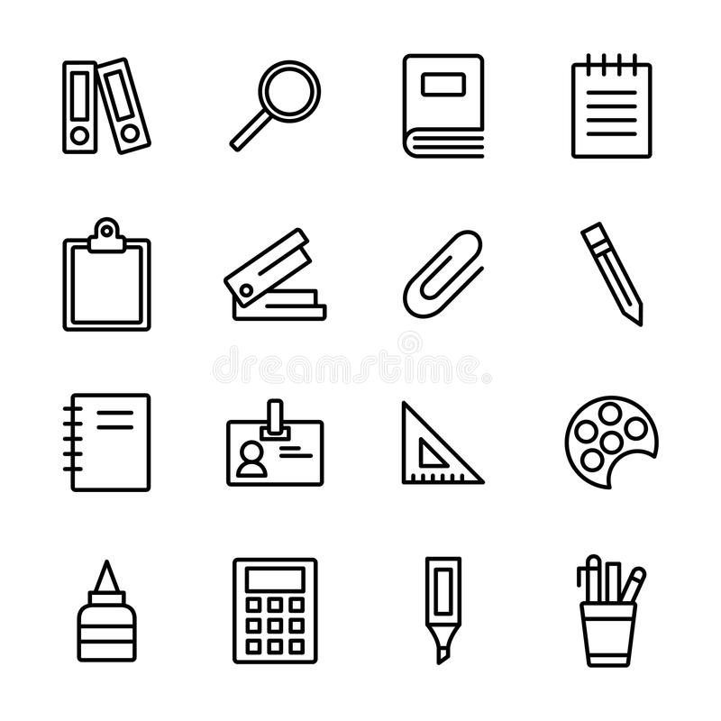 Stationery Related Vector Line Icons. Stationery Icons In White Background royalty free illustration